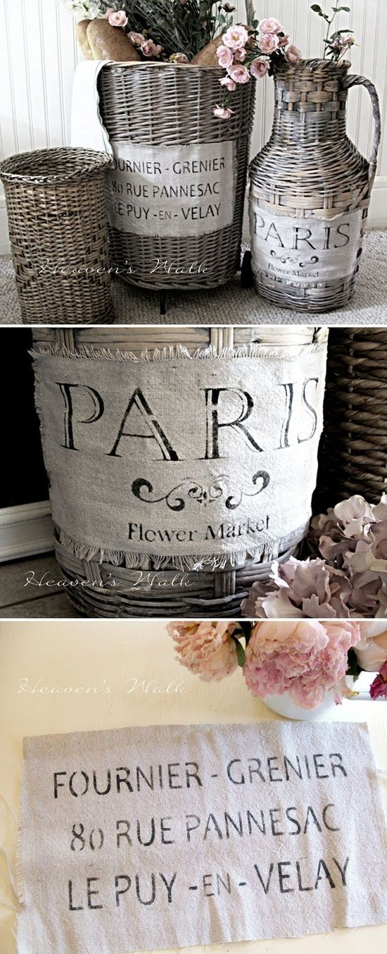 Vintage French Stencils | DIY crafty ideas / STENCILS :: Vintage French Market Baskets Tutorial ...