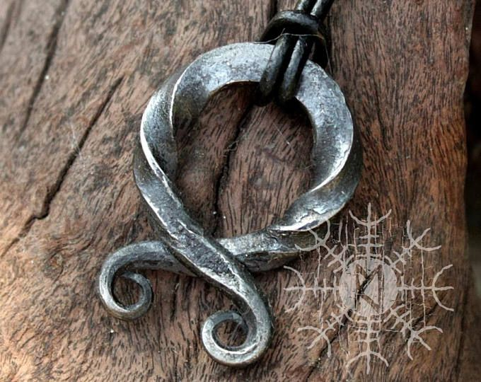 NEW ITEM! ~ Forged Iron Twisted Handmade Troll Cross Vikings Amulet Protection Pendant Necklace