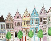 San Francisco Victorian Colorful Houses Painted Ladies Illustration Art Print