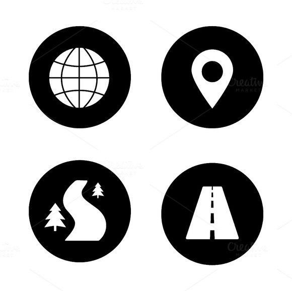 Map navigation icons  Vector | Icons | Map icons, Location