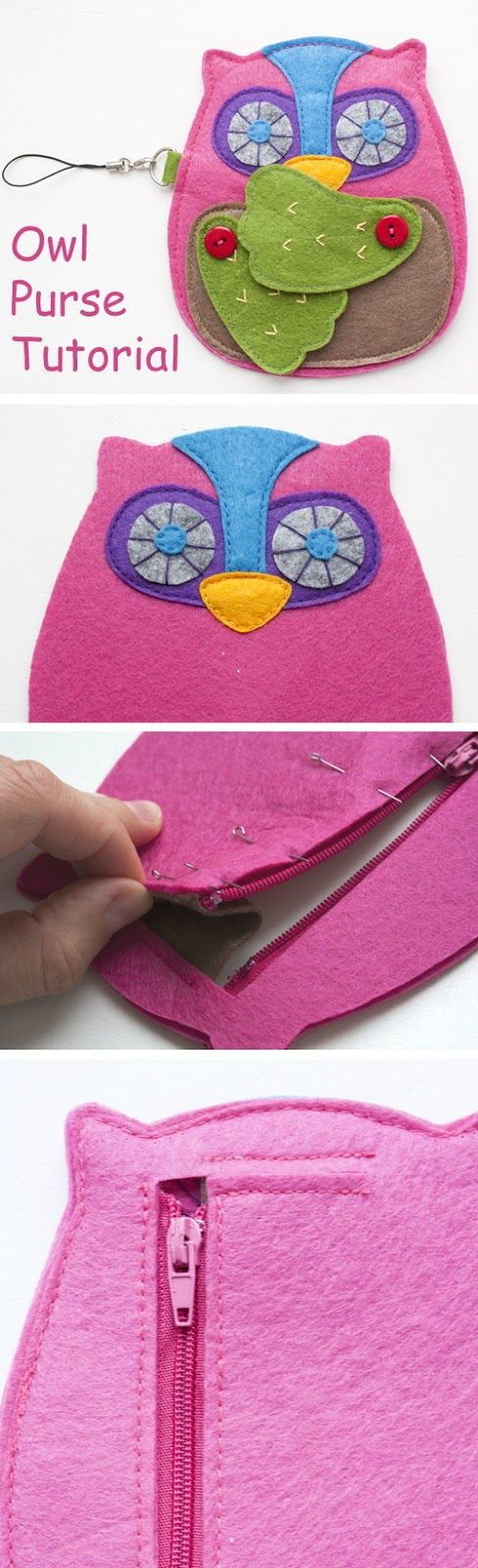 Cute Handmade Owl Zipper Wallet Coin Purse Pattern. DIY Step-by-Step Tutorial Instruction.  http://www.handmadiya.com/2015/10/felt-owl-purse-tutorial.html