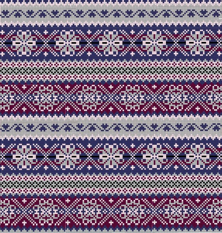 Blue, Purple, and Maroon Flowers Fair Isle Knitting Pattern
