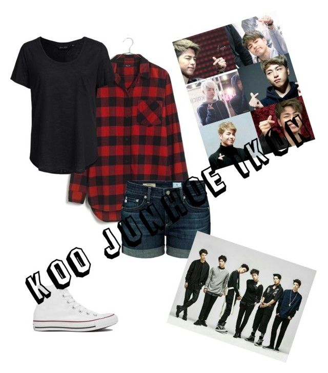 """""""Koo Junhoe IKON  Polyvore"""" by nialuisa ❤ liked on Polyvore featuring Madewell, New Look, AG Adriano Goldschmied and Converse"""