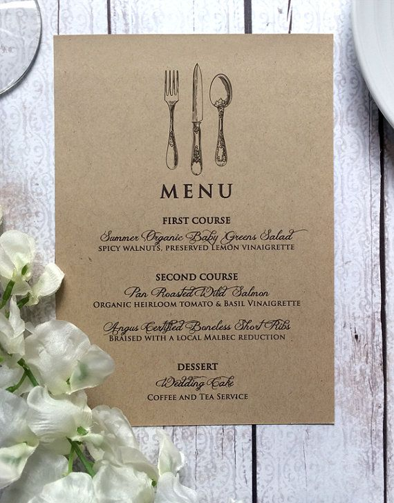 Wedding Menu Card  Vintage Inspired Wedding by SideStreetDesigns
