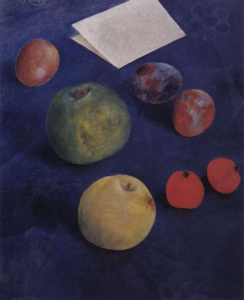 art-is-art-is-art:  Fruit on a Blue Tablecloth, Kuzma... - #Art #LoveArt https://wp.me/p6qjkV-4lT