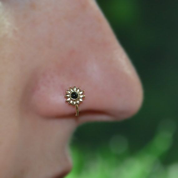 14k Gold Filled 6mm Flower Onyx Nose Ring, 18g Extra Small Hoop Earring, catchless,seamless,tragus,helix,cartilage 18 gauge handcrafted