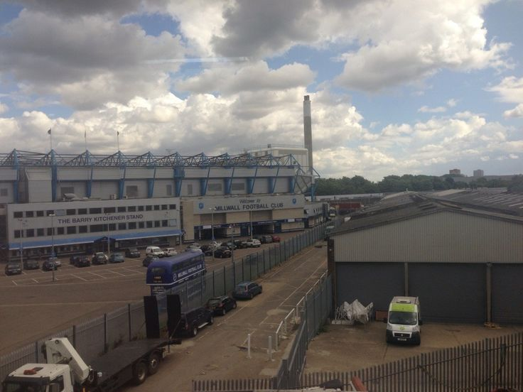 Millwall FC The Den from Train at South Bermondsey South East London England on Monday 11th August 2014