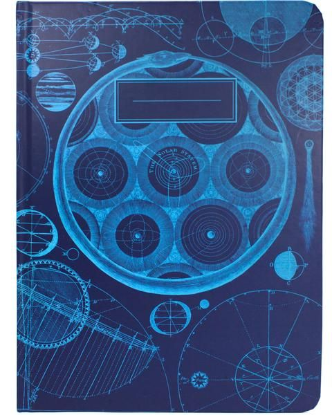 The Test The Original Hardcover Notebook Heliocentric. Geocentric. Sometimes you just see what you want to see. With vintage illustrations drawn in sky blue on a field of dusky blue, the Universe Mode