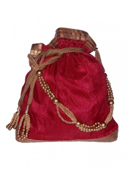 Red Potli with golden pearls and beaded thread
