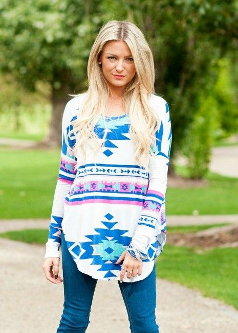 Long sleeve Aztec top with dropped shoulder seams. #bellaellaboutique