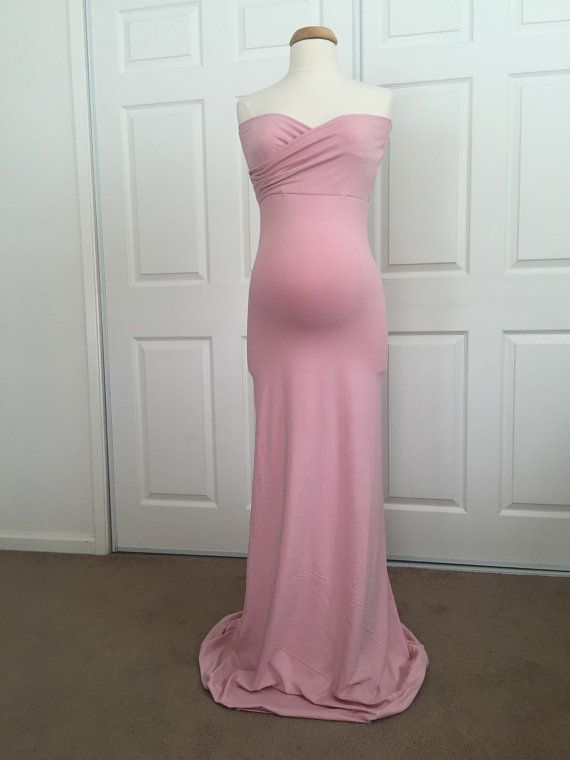 Dusty Pink Jersey Slim Fit Maternity Gown Fitted