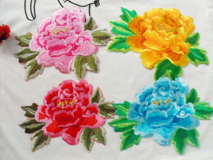 Flor de peonía Flores de Parches Parches De Hierro en el Bordado Flowre Parches para la Ropa De Color de Rosa Azul Amarillo 20.5*14.5 cm
