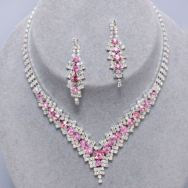 Prom party pink diamante necklace set nCWBanbb