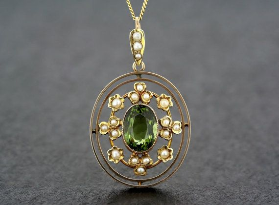 Antique Edwardian Pendant - Tourmaline and Pearl 9ct Gold Oval Edwardian Pendant