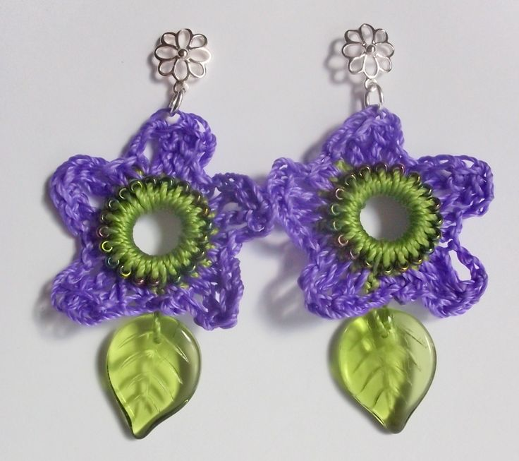 Happy Spring: Crocheted Spring Flower Earrings - Free Pattern | Gossamer Tangles - also details for earring giveaway