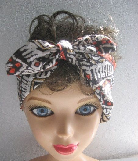 Pin Up Bandana Knotted Bandana Boho by CrochetnMoreByAlida on Etsy, $11.00