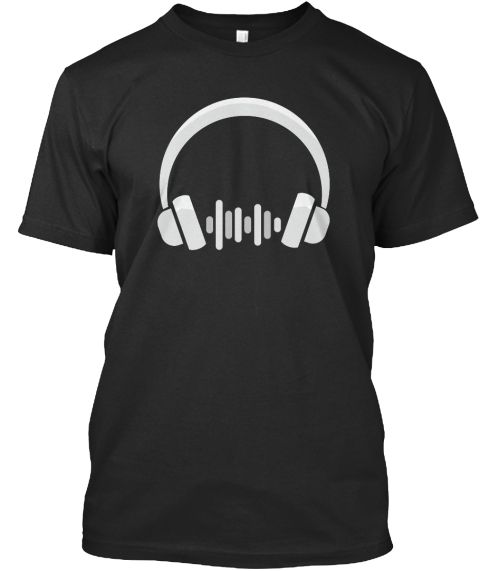 Headphone T Shirt Gift For Music Lover Black T-Shirt Front
