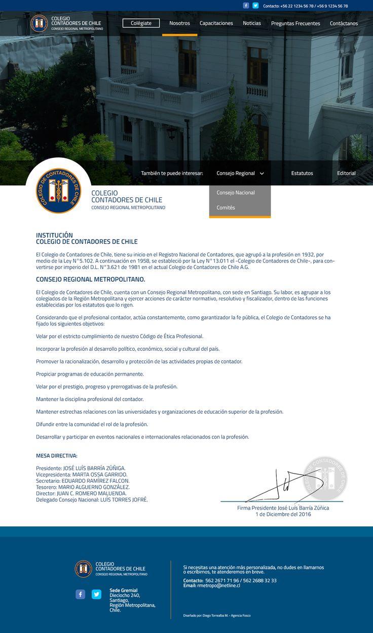 Website sección nosotros de Colegio de Contadores de Chile - Región Metropolitana de Santiago. (Disponible desde Enero del 2017 - rmcontadores.cl)