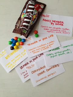 Pass around M&M's.& color coordinated  paper for each M&M color. Write prayer catagories on board. Write request down and take home to USE!
