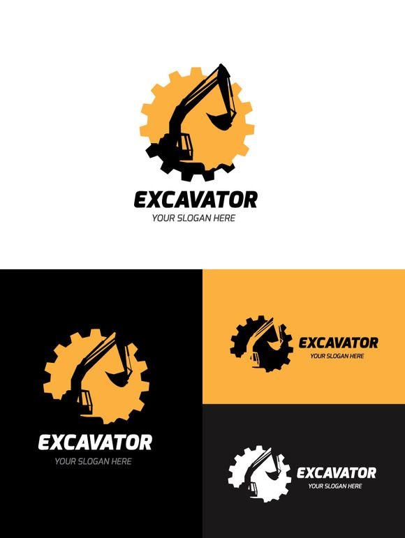 Excavator Logo by Super Pig Shop on Creative Market