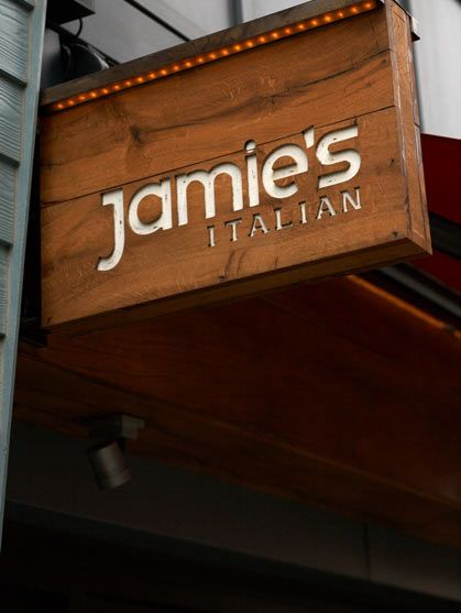 Nice Looking Wooden Sign | Jamies Italian Projecting Sign