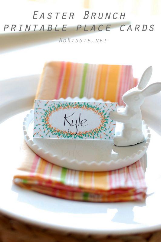Easter Brunch printable placecards | NoBiggie.net