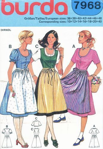 Burda Pattern 7968 Dirndl Apron Dress, Blouse - Three Versions! Uncut Size 10-12-14-16-18-20-40