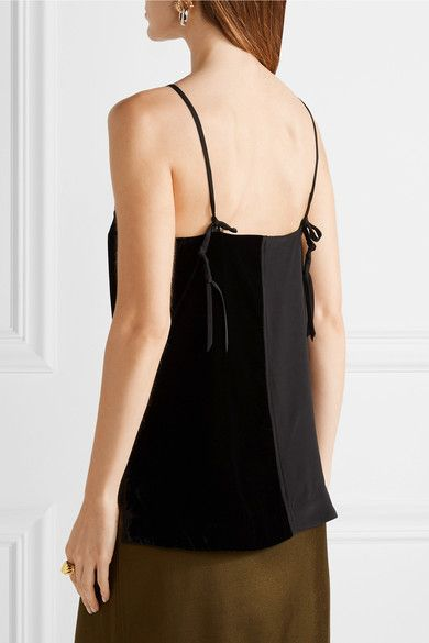 Black silk crepe de chine and velvet Slips on Fabric1: 100% silk; fabric2: 100% polyester; lining: 100% polyester Dry clean Imported