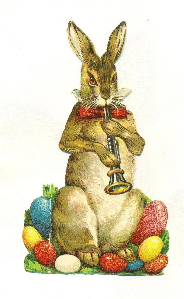 victorian     scrap easter rabbit
