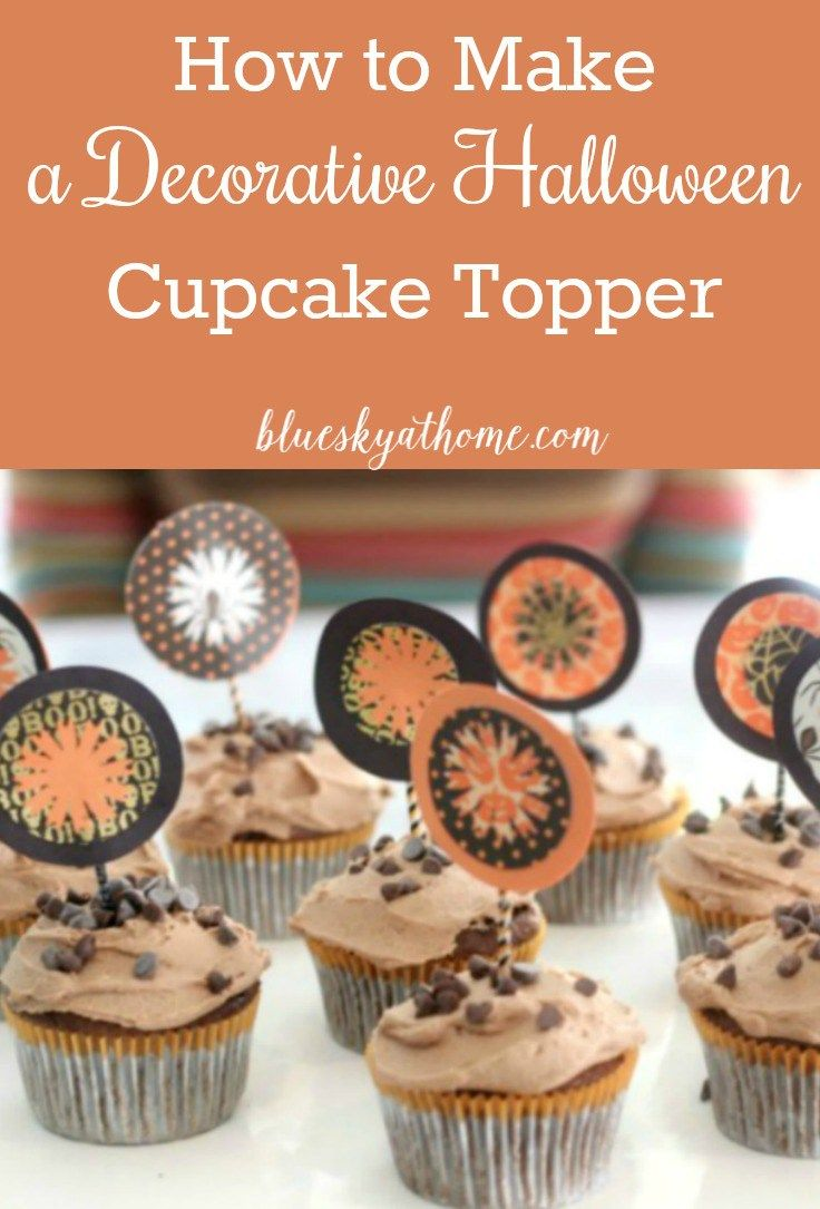 How to Make a Decorative Halloween Cupcake Topper using paper, glue, a paper cutter, decorative cutter, toothpicks and imagination.