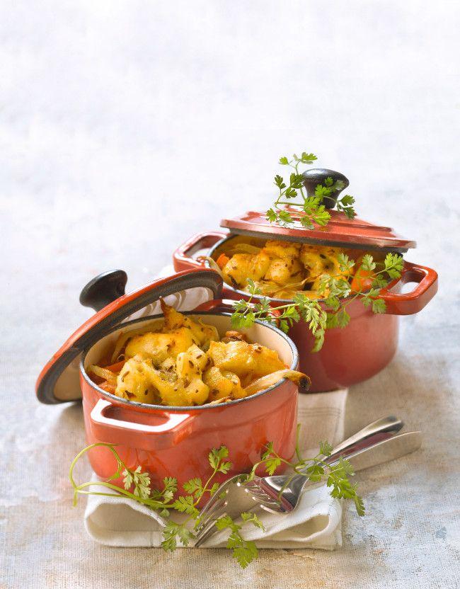 Cocottes de lieu jaune aux épices - Gourmand
