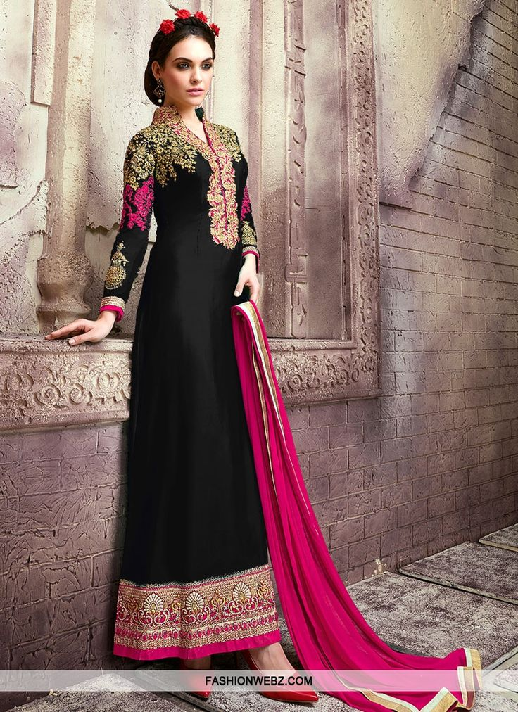 Be the center of attraction with this #black and #rosepink #color faux #georgette #pakistani #salwarkameez.