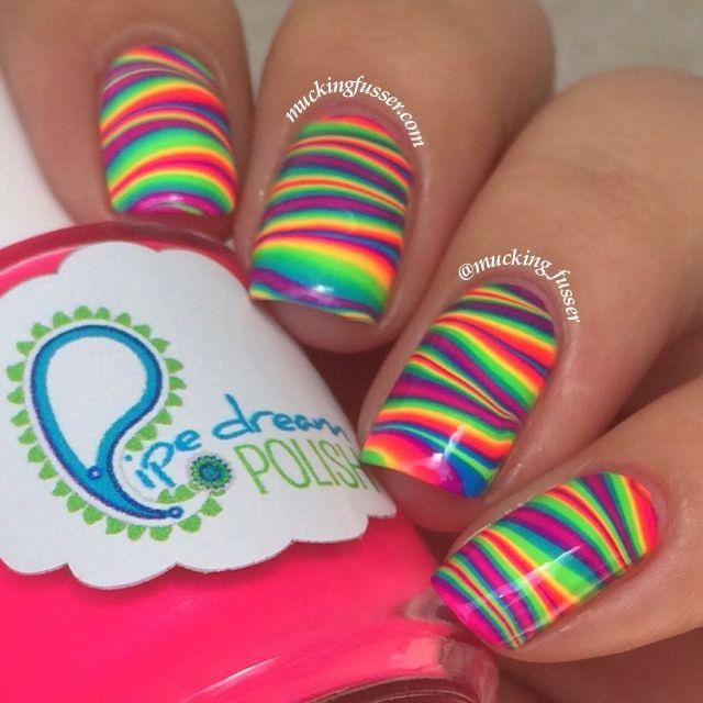Striped Rainbow Water Marble Nail Art