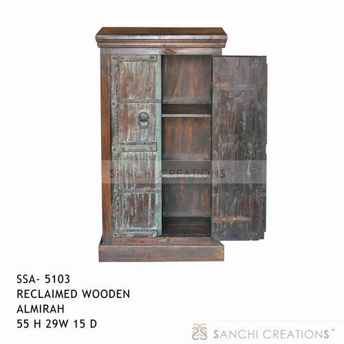 Reclaimed wooden almirah  Reclaimed wooden almirah with two door and four shelves behind doors intended to stand in study room,  living room , and bed room. Reclaimed wooden almirah  has been used as a book case also. Wooden almirah is a brilliant combination of the old charm atistic sense and utility. http://www.sanchicreations.com/