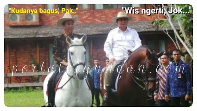 Ketika Jokowi Naik Kuda Milik Prabowo Netizen: Jokower pun Mingkem  [portalpiyungan.com]Ketua Umum Partai Gerindra mengajak Presiden Joko Widodo naik kuda miliknya usai melakukan pertemuan tertutup selama hampir dua jam di kediaman pribadi Prabowo di Padepokan Garuda Yaksa Bojong Koneng Bogor Senin 31 Oktober 2016. Keduanya keluar ruangan pertemuan sekitar pukul 14.30 WIB. Jokowi mengenakan kemeja batik warna hitam. Namun tak seperti saat pertama tiba di rumah Prabowo Presiden kini…