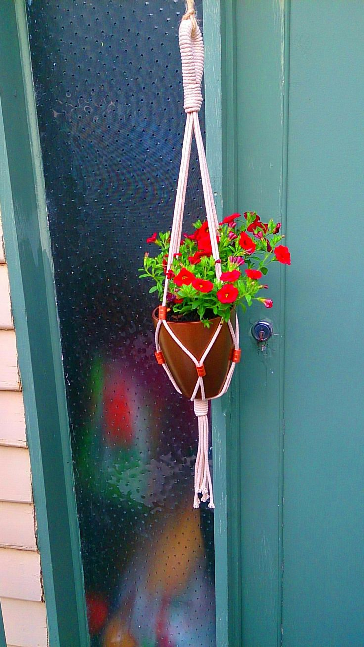 Copper and Flowers.  Macrame made by MKT Designs 2014