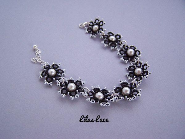 Bracelet fleur noir dentelle perles Swarovski