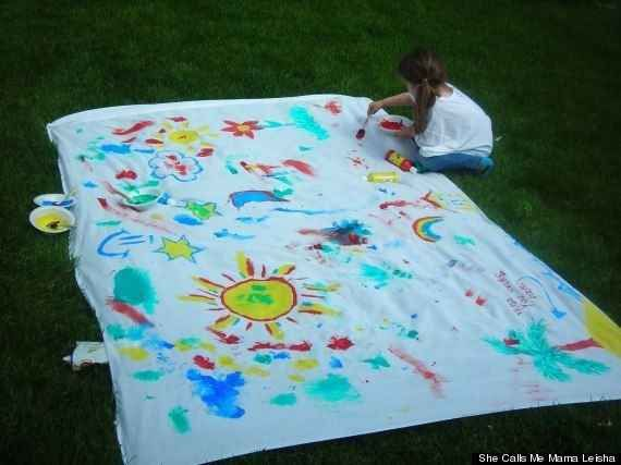 Get a thrift-store sheet and turn it into an outdoor canvas!