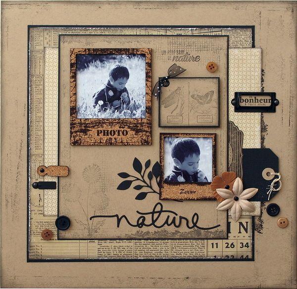 Bonjour, nous sommes en début de mois ce qui veut dire newsletter EmbelliScrap, ce mois ci j'ai choisi de scraper les cadres &pola& usés en liège, une page aux couleurs neutres avec une touche d'ocre, un peu vieillie avec des photos d'Antonin prises fin...