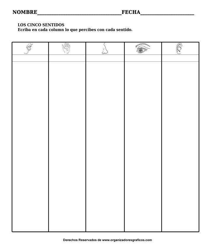 Organizadores Graficos - Los 5 Sentidos - Escriba en Cada Columna Que Percibe Cada Sentido