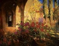 Twilight Courtyard Canvas Transfer - Tuscan Art