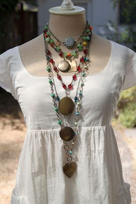 : Boho Gypsy, Layered Necklace, Eclectic Jewelry Bohemian, Boho Jewelry, Display Ideas, White Blouses, Bohemian Style, Necklace Display, Chunky Necklaces