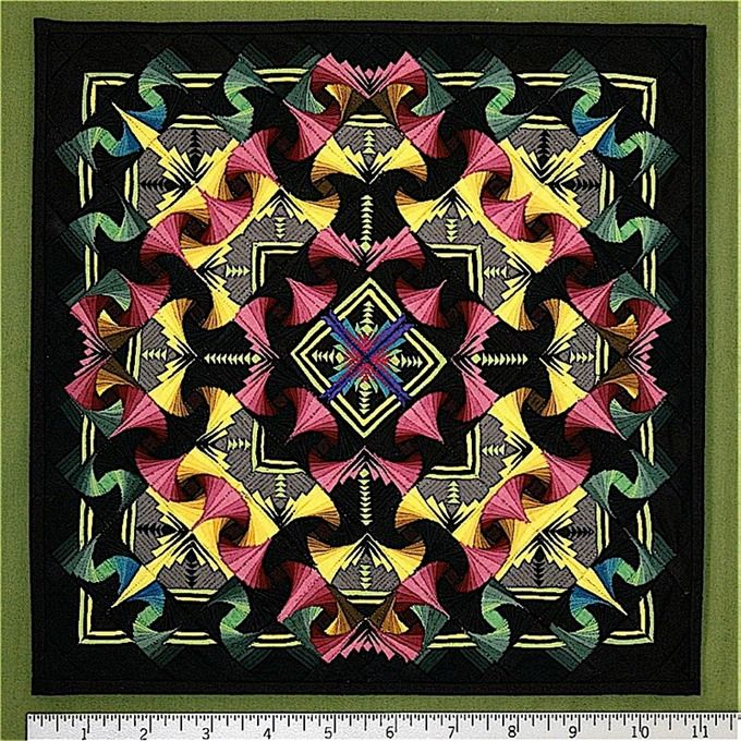 """ILLUSIONS"" by George Siciliano, Lebanon, PA, USA. First place in 'Miniature Quilts' category at AQS Paducah, 2008. This quilt is made up of 4,129 pieces in a 10 3/4"" x 10 3/4"" square!"