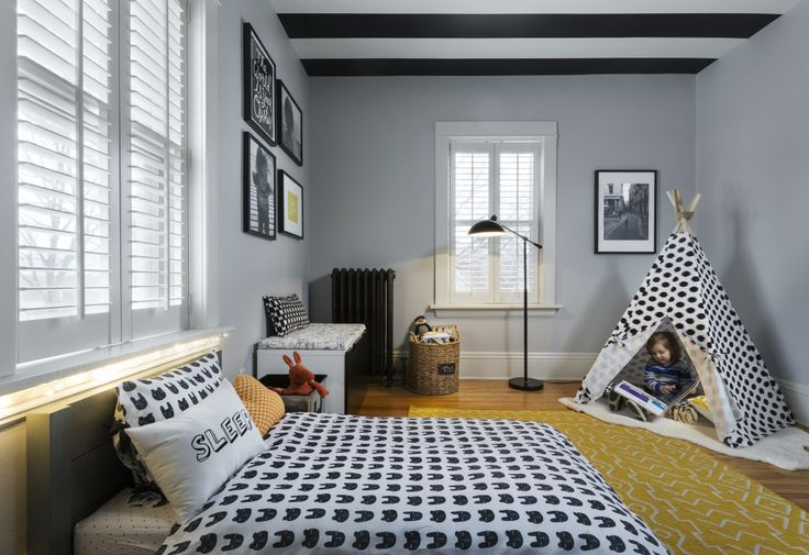 Modern Toddler Boy Room with Black and White Striped Ceiling - bold, yet playful!