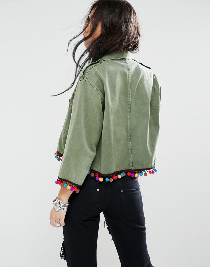 Image 2 ofMilk It Vintage Cropped Shirt Jacket With Pom Pom Trim