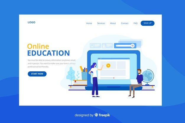 Online Education Landing Page Vector Free Download Web Design