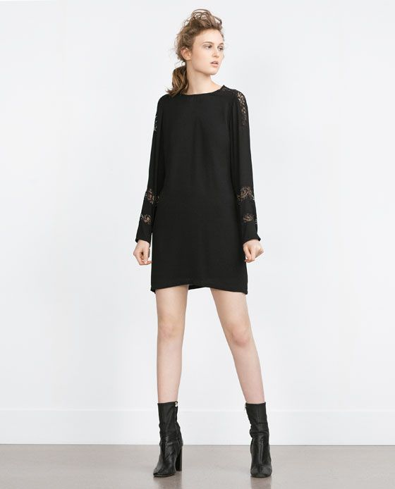 STRAIGHT CUT CONTRAST LACE DRESS from Zara