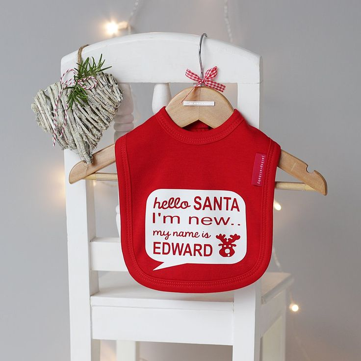 Hello Santa Babies Bib. Available in Red and Pure White.