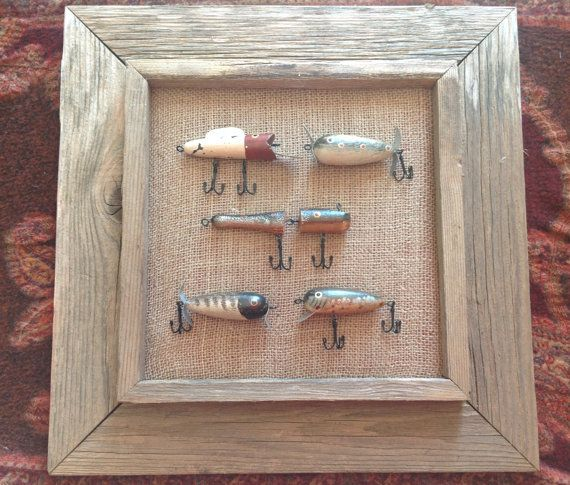 Rustic fishing lures framed on burlap