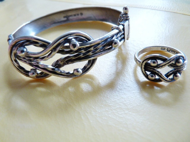 Vintage Finland Kalevala Koru silver ethnic bracelet and ring set